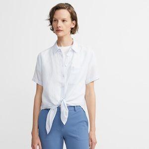 Theory Hekanina Linen Blend Tie Front Shirt
